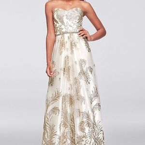 Strapless Glitter Brocade Gown with Crystal Belt